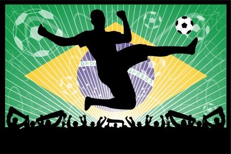 soccer concept (Brazil). Stock Illustratie
