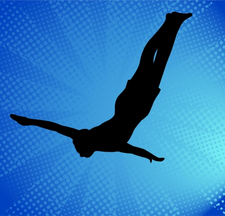 brave of sport: diver silhouette on the blue abstract background