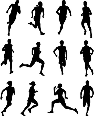female athletes: people running silhouettes