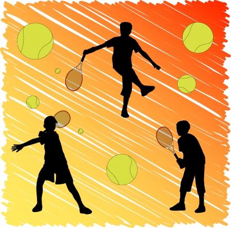 tennis kid silhouettes Vector