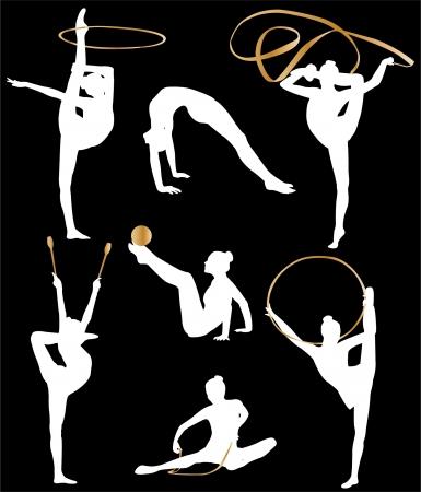 rhythmic gymnastics: colección de silueta de gimnasia rítmica  Vectores