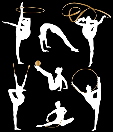 acrobatics: rhythmic gymnastic silhouette collection Illustration