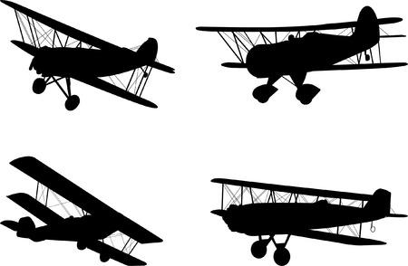 vintage airplanes silhouettes  Stock Illustratie