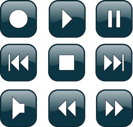 Audio-Video-Steuerungsschaltflächen  Standard-Bild - 7906309