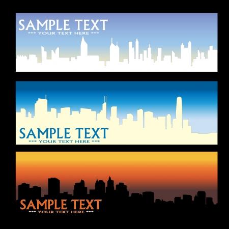 Stadt-Skyline-Banner   Standard-Bild - 7978546