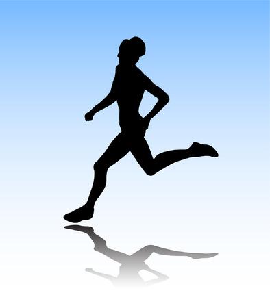 donna che corre: donna in esecuzione  Vettoriali