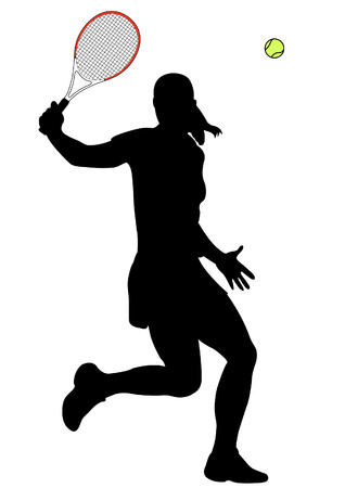 backhand: tennis player   Illustration
