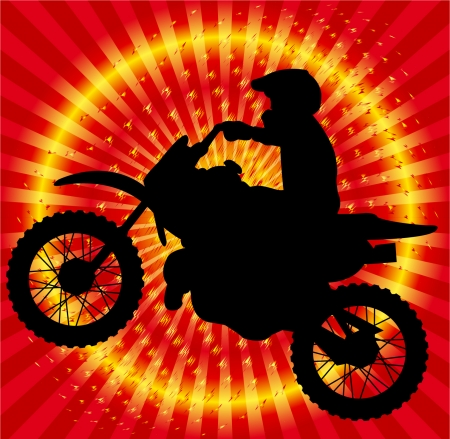 motorbike jumping: motorcyclist on the abstract background
