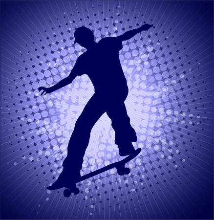 skater on the abstract blue background - vector Stock Vector - 8180305
