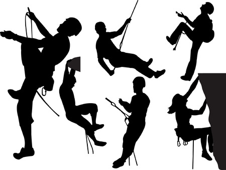 climbing mountain: rock climbers silhouette collection  Illustration