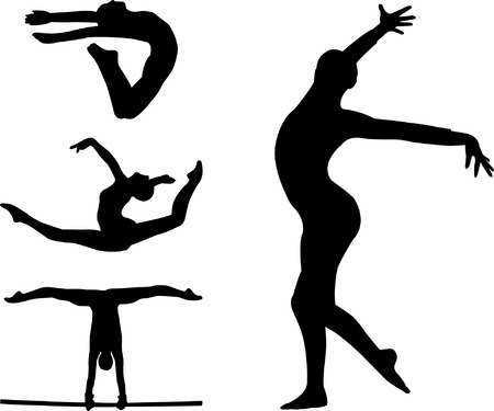 gymnastic silhouettes Stock Vector - 8255644