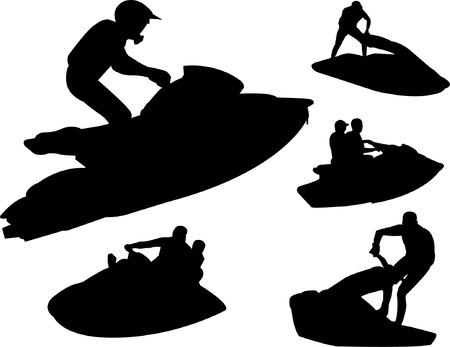 boat motor: jet ski silhouettes