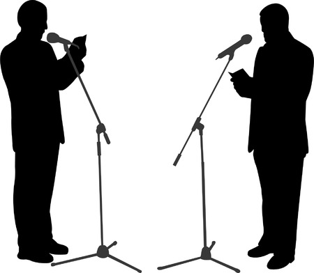 welcome business: silhouettes of men public speaking - vector Illustration
