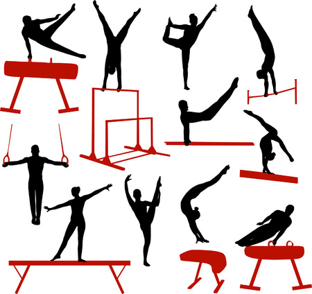 parallel: gymnastics silhouettes - vector Illustration