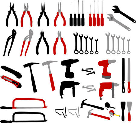 steel workers: tools collection - vector
