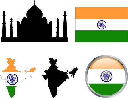 インド: インドの国旗、地図およびボタン - ベクトルします。