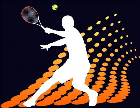 tennis: Joueuse de tennis sur fond de demi-teinte abstraite