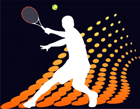 tennis serve: Tennis player on abstract halftone background
