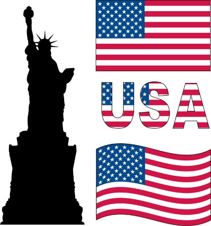 statue of liberty and USA flag Stock Vector - 10622789