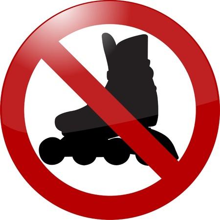 rollerblade: no rollerbladading sign - vector