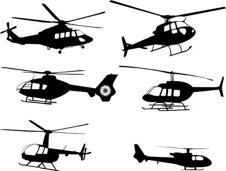helicópteros siluetas Ilustración de vector