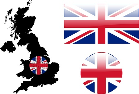 great britain flag and map - vector Vector