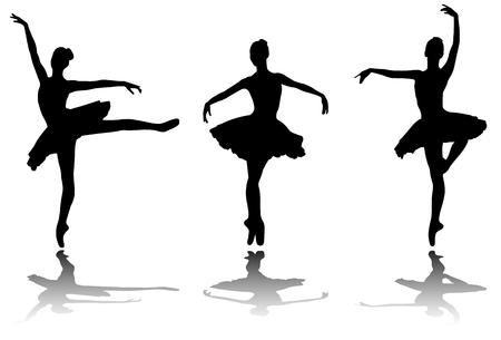 eleganckie baleriny sylwetki - wektor