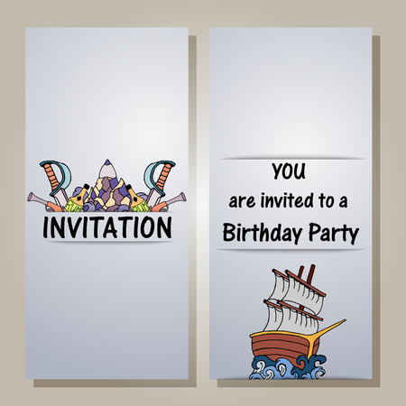 musket: Hand drawing style invitation with difrent elements