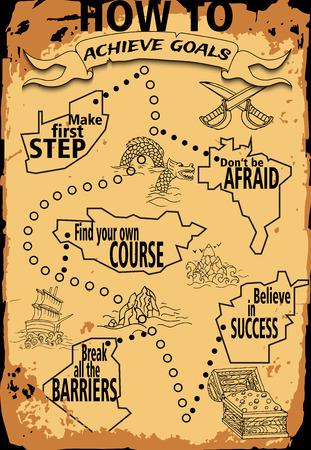 carte trésor: main infographie de dessin dans le style pirate. Carte au trésor