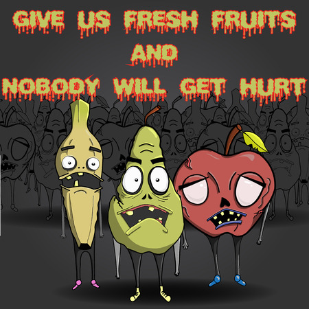 face zombie: Zombie fruit characters with zombie background Illustration