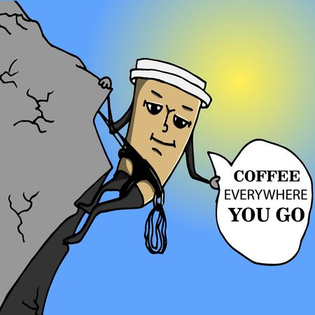 montañas caricatura: Taza de café Mountaineer ir con marco de texto