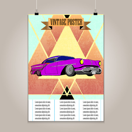 high detail: Vintage poster with high detail  lowrider. Grunge texture .