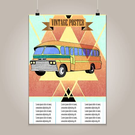 high detail: Vintage poster with high detail  bus. Grunge texture.