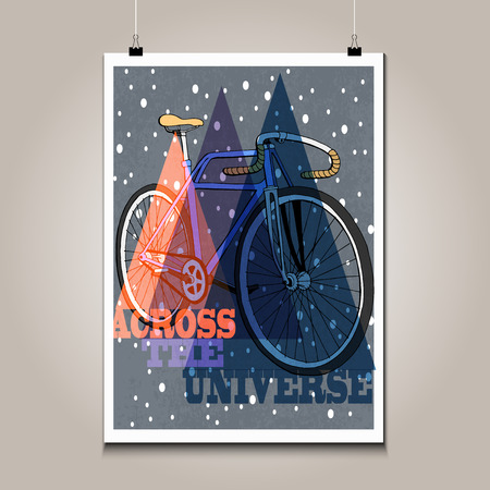 high detail: Vintage poster with high detail  bicycle. Grunge texture and motivation phrase.