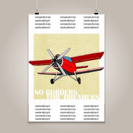 high detail: Vintage poster with high detail  plane. Grunge texture and motivation phrase. Illustration