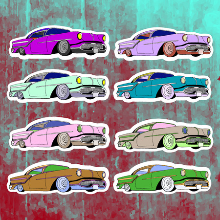 andy warhol: Pop art stickers set. Hand drawing lowrider.Vector illustration
