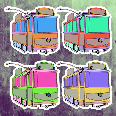 Pop art stickers set. Hand drawing retro tram.Vector illustration Illustration
