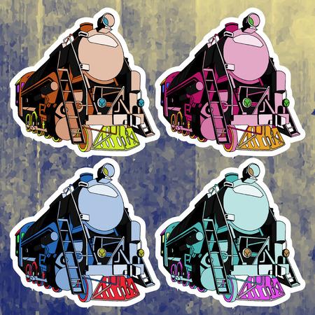 andy warhol: Pop art stickers set. Hand drawing retro train.Vector illustration