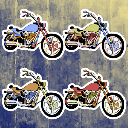 andy: Pop art stickers set. Hand drawing retro motorbike.Vector illustration Illustration