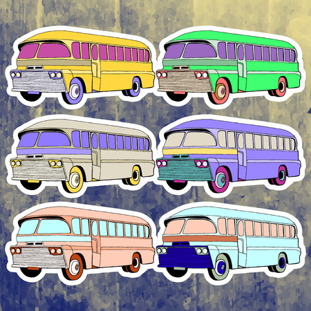 andy: Pop art stickers set. Hand drawing retro bus.Vector illustration