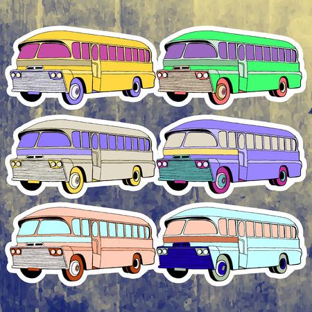 andy warhol: Pop art stickers set. Hand drawing retro bus.Vector illustration