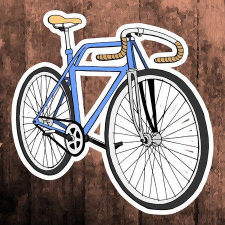 Pop art stickers set. Hand drawing retro bicycle.Vector illustration Illustration