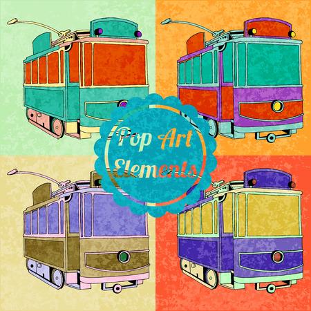 trams: Pop art style elements. Set of vector trams
