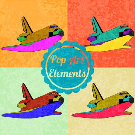 shuttles: Pop art style elements. Set of vector shuttles Illustration