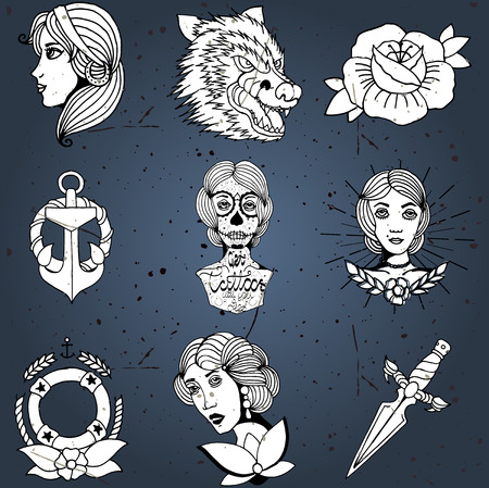 old ship: Homemade tattoo designs vector set