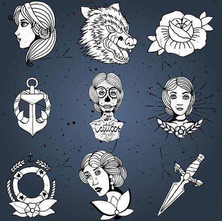 damas antiguas: Tatuaje hecho en casa dise�a conjunto de vectores