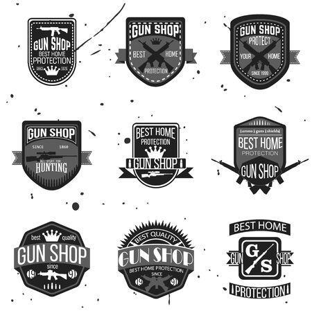 guns: Gun shop types and badges Illustration