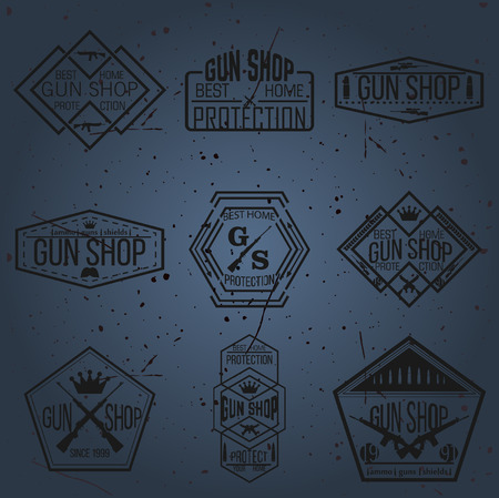 arsenal: Gun shop types and badges Illustration