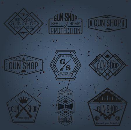 Gun shop types and badges Illustration