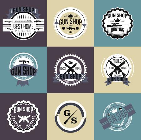 shooting gun: Gun shop types and badges Illustration